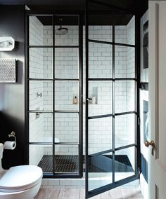 SHOWER black steel framed doors Designer: Jenny Wolf