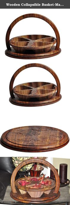 Wooden Collapsible Basket-Magic Basket-Spring Basket Dry Fruit decorative Basket- USA Seller. Our Unique collapsible basket made from solid Rosewood and are meticulously hand carved by skilled artist. They can be used as trivet or hot plate while flat , making them easy to store, carry and ship to your loved one This is a polished wooden folding basket with Heart Shape. An artistic and innovative artwork of well skilled craftsmen. Its frame has been cut in slices so that the wood take…