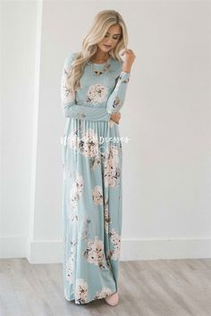 The perfect Spring maxi dress is here! Stunning, soft and comfortable, The Jaylee is a must have. Beautiful light mint dress features a floral print, long sleeves, round neckline, elastic waist and side seam pockets.