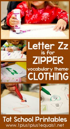 Tot School Printables Letter Z is for Zipper {free} from @{1plus1plus1} Carisa #totschool