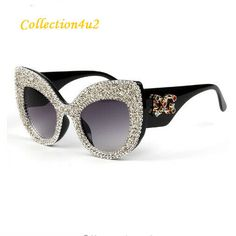 cae34a8d8a9 2019 Newest Fashion Women Cat Eye Sunglasses Brand Designer Bling Crystals  UV