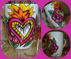 mexican style, tazas pintadas a mano, mexicana.