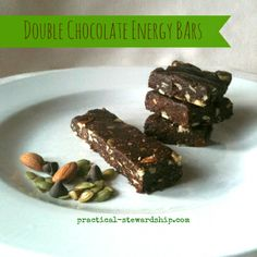 Double Chocolate Energy Bars, G-F, D-F-Easy for kids to help make and gives kids a portable burst of energy for the perfect healthy on-the-go snack.