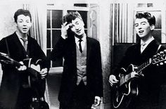 Paul McCartney, John Lennon and George Harrison play at the wedding reception for George's brother, Harry, in 1958 as The Quarrymen, two years before the formation of The Beatles George Harrison, George Lucas, Paul Mccartney, John Lennon, Billy Gibbons, Johnny Rotten, Anthony Kiedis, Roger Daltrey, Michael Hutchence