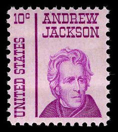 The 10¢ Andrew Jackson (1767 – 1845) stamp honors the seventh president of the United States. Jackson won fame for his military victory at the battle of New Orleans in the War of 1812.