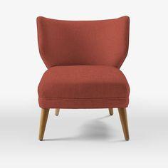 Retro Wing Chair, Crossweave, Steel/Ivory