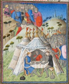 Des cas des nobles hommes et femmes 1410 France. Seems really clear that this tent is not really for sleeping in. Medieval World, Medieval Art, Medieval Manuscript, Illuminated Manuscript, Middle Ages Clothing, Tent Decorations, Bell Tent, Art Costume, Book Of Hours
