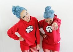 Funny thing 1 and thing 2 best friend costumes. - New Ideas Two People Halloween Costumes, Best Friend Halloween Costumes, Twin Halloween, Last Minute Halloween Costumes, 2 People Costumes, Halloween Costumes For Bestfriends, Halloween Duos, Halloween Customs, Halloween Office
