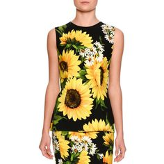 Dolce & Gabbana Sleeveless Sunflower-Print Cady Top ($875) ❤ liked on Polyvore featuring tops, women's apparel tops, sleeveless tops, sunflower top, form fitting tops, viscose tops and rayon tops