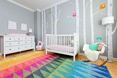 Custom rug and wall decals from YDC Design for the contemporary nursery - Wohneinrichtung Teen Girl Rooms, Girls Bedroom, Bedrooms, Room Paint Colors, Nursery Themes, Nursery Ideas, Bedroom Ideas, Nursery Neutral, Nursery Design