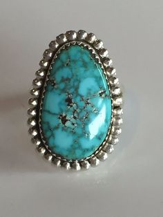 Signed Vintage NAVAJO Sterling Silver & TURQUOISE w/ Webbed Matrix RING sz 10.25 #AUTHENTICVINTAGENATIVEAMERICANJEWELRY