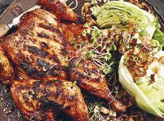 Deník Dity P. - Grilované kuře s ledovým salátem s modrým sýrem a cibulkou Tandoori Chicken, Turkey, Cooking Recipes, Yummy Food, Treats, Ethnic Recipes, Fine Dining, Sweet Like Candy, Goodies