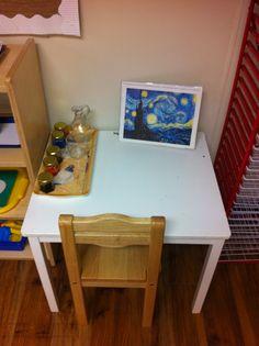 Starry night painting activity in the Montessori classroom. www.montessorimv.com