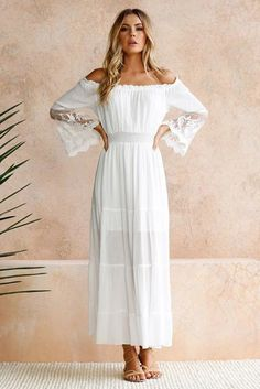 Chic Off Shoulder Embroidered Flared Sleeve White Lace Maxi Dress, Shop for cheap Chic Off Shoulder Embroidered Flared Sleeve White Lace Maxi Dress online? Buy at Modeshe.com on sale! Elegant Maxi Dress, Sexy Maxi Dress, Boho Dress, Dress Beach, Dress Casual, Women's Dresses, White Maxi Dresses, White Dress, White Lace