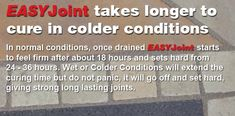 EASYJoint takes longer to cure in colder conditions Grout, Landscaping Tips, The Cure, Conditioner, Malta