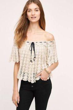 Crochet Off-The-Shoulder Pullover, affiliate link Crochet Woman, Crochet Lace, Crochet Bikini, Crochet Tops, Rocker Look, Bohemian Pattern, Boho Look, Crochet Cardigan, Crochet Fashion