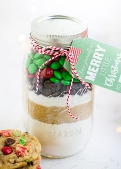 Cookie mix in a jar with FREE printable