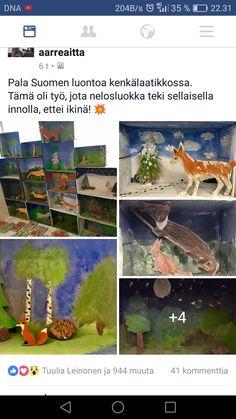 Teaching Art, Fall Crafts, Diorama, Finland, Aquarium, Artwork, Painting, Autumn, 3d