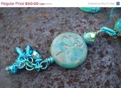 5th Annual Baby Sale Dragon Fly and Czech glass wire wrapped necklace   Dragon Fly in Paradise Necklace