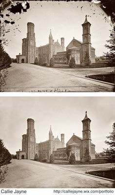 Restored picture of the Smithsonian Castle in Washington D.C in the 1860s. Original can be found at http://www.shorpy.com/node/668?size=_original#caption      Old Photo, Photo Restoration