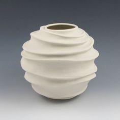 Carved Modern Sculptural Ceramic Pottery Vessel by jtceramics, $95.00