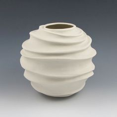 Carved Modern Sculptural Ceramic Pottery Vessel: Creamy Porcelain
