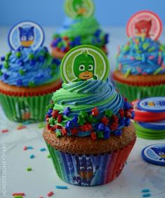 4 Pj Mask cakes and cupcakes party ideas Pj Mask Cupcakes, Rainbow Cupcakes, Cupcake Cakes, Pj Masks Cakes, Pj Masks Birthday Cake, Birthday Cupcakes, Boys Cupcakes, Torta Pj Mask, Pjmask Party