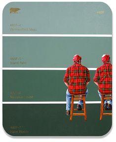 "Shawn Huckins 49 x 40"" Self Portrait I + II with Flannel Shirt. Acrylic on canvas"