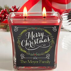 Personalized Holiday Scented Candle -- Cute Christmas gift idea!