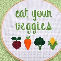 Eat Your Veggies Counted Cross Stitch Pattern