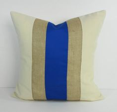 Blue and Burlap Decorative Pillow Cover, Throw Pillow Cushion, 18 x 18