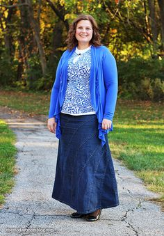 A lovely denim skirt and modest layering cami! The cami comes in small-4X sizes!