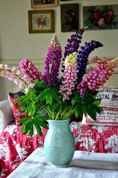 Another easy arrangement to make from flowers in your flower garden. Lupine Flowers, Fresh Flowers, Beautiful Flowers, Beach Flowers, Bunch Of Flowers, Exotic Flowers, Simply Beautiful, Purple Flowers, Wild Flowers
