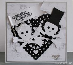 Skull wedding card Skull Wedding, Wedding Crafts, Snoopy, Cards, Character, Maps, Playing Cards, Lettering