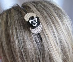 Black and White Flower Headband by wynbrit on Etsy, $16.00