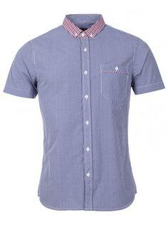 Mens Blue Contrast Collar Check Short Sleeve Shirt