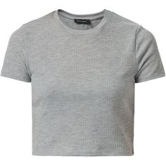 New Look Grey Ribbed Crop Top ($6.27) ❤ liked on Polyvore featuring tops, grey, grey crop top, short sleeve crop top, crop top, ribbed crop top and rib top