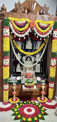 29 Ideas For Pooja Room Door Design Ideas Home Housewarming Decorations, Diwali Decorations, Festival Decorations, Flower Decorations, Wedding Decorations, Temple Design For Home, Silver Pooja Items, Mandir Design, Pooja Mandir