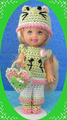 """Crochet Doll Clothes Valentine Kitty Green for 4 ½"""" Kelly  same sized dolls"""
