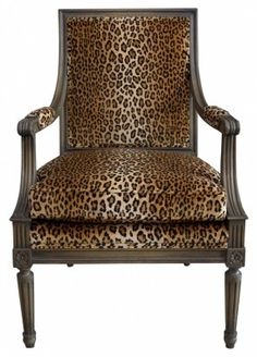 Louis XVI Arm Chair in Leopard Velvet