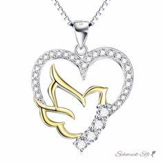 Anhänger Herz mit Taube aus 925 Silber mit Zirkonias mit...