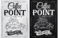 Retro poster coffee point by Anna on @creativemarket
