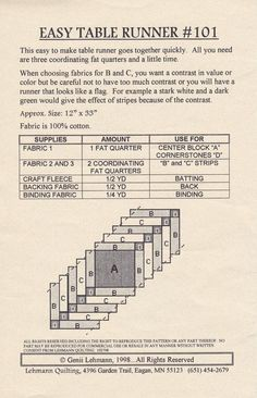 Easy Table Runner Quilt Pattern by Lehmann by cedarpointdesigns by esmeralda