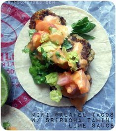 Mini Falafel Tacos with #Sriracha Tahini Lime Sauce #vegan #glutenfree #soyfree via http://ransomcakes.com