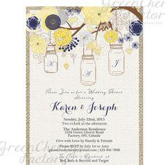 Rustic Burlap Wedding Shower - Initial - Yellow Navy Mason Jar Invitation Wedding Anniversary - Bird Tree Backyard - Printable - No.457