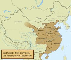 The Sui dynasty was a short-lived imperial Chinese dynasty. Preceded by the Southern and Northern dynasties, it unified China for the first time after over a century of north-south division. Historical Maps, Historical Pictures, Grand Canal, Thomas Jefferson Facts, China Facts, China Map, Alternate History, Asian History, Prehistory