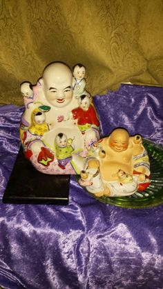 BUDDHAS Porcelain Colorful Large Set2,Each1has 5Buddha Babies Climbing On Them,Largest 1Shiny, Smaller 1Flesh Color Flat&Shiny,Checkall5Pics by DWedgeCreations on Etsy