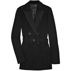 Marc by Marc Jacobs Zelda double-breasted wool-felt coat ($270) ❤ liked on Polyvore featuring outerwear, coats, jackets, tops, marc jacobs, black coat, black wool coat, wool coat, marc by marc jacobs coat and black double breasted coat
