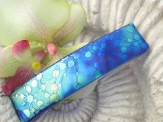 Hair Barrette - Blue Green Gold Satin - Contemporary - French Barrette - Dichroic Barrette - Fused Glass Jewelry Med/Lrg/Xlge 062914ba102