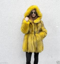 dyed yellow fox fur parka
